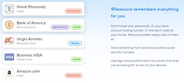 1Password password manager payment method.