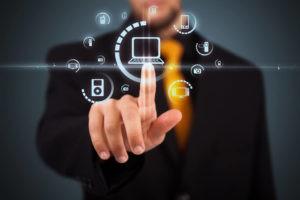 Businessman pressing multimedia type of modern button