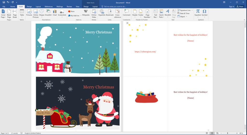 Edit Christmas card in Mirosoft Word.