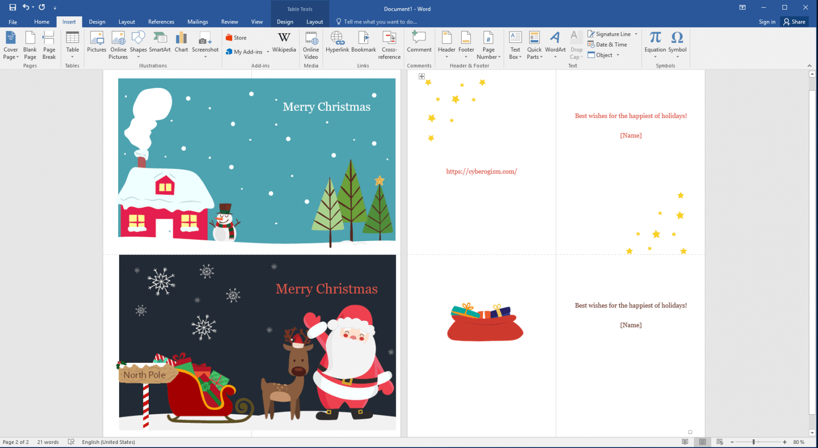 how to create greeting cards in ms word 2016