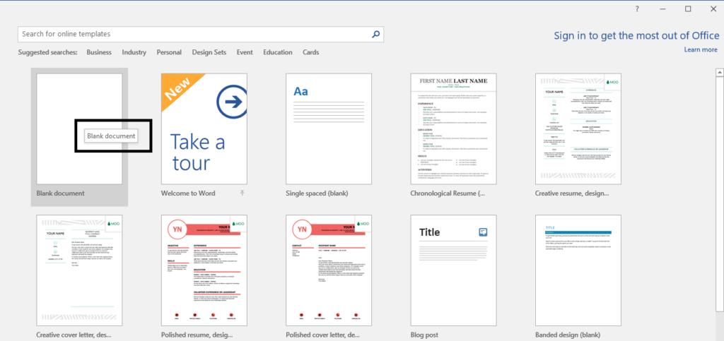 Select blank tamplate fom Microsoft Word.