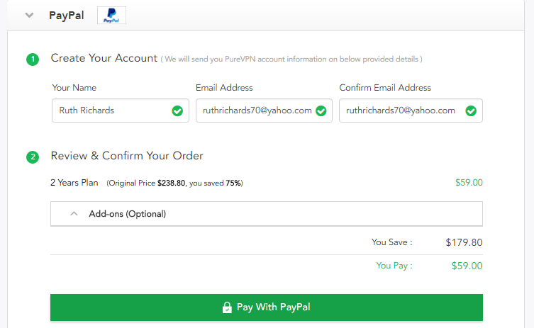 PayPal account for Pure VPN.