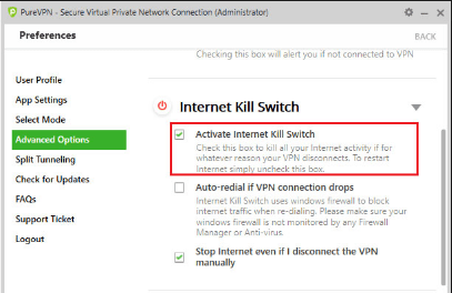 Activate  Internet Kill Switch tab