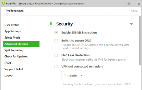 256-Bit Encryption, Switch to secure DNS, IPv6 Leak Protection, and a reminder that VPN is not connected.
