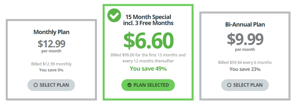 Buffered VPN payment plan.