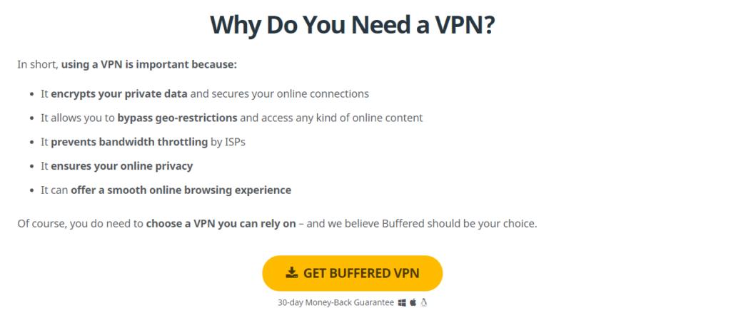 Reasons for installing a VPN.