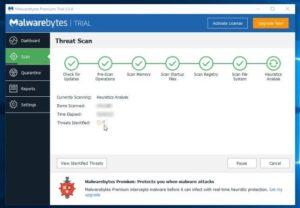 Malwarebytes scanning PC.