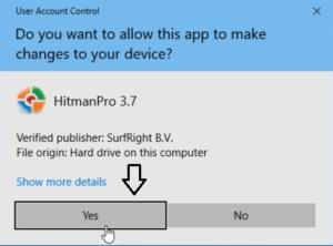 Installing HitmanPro on PC.