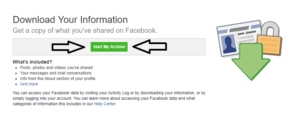 Start my archive button on Favebook profile.