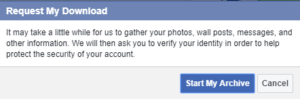Downloading personal information from Facebook.