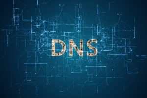 "Word ""DNS"" with bright yellow color before an electric current background."