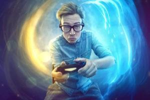 Nerdy game player holdig joystick.