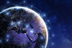 Communication network around Earth.