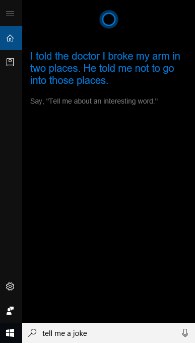 Cortana jokes option.