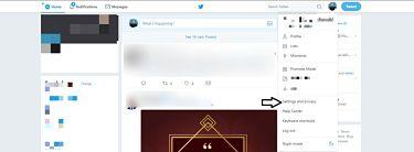Twitter settings options.