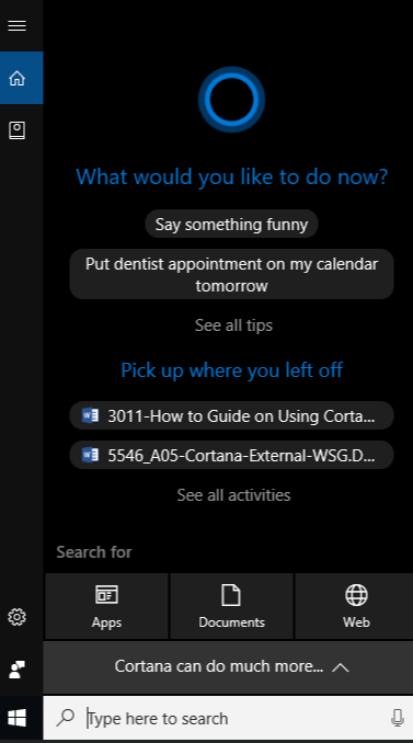 Cortana windows assistant.