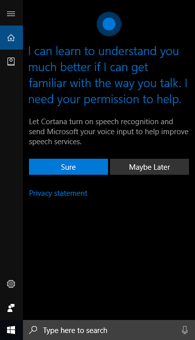 Voice option on Cortana.