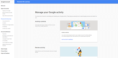 Manage your google activity.