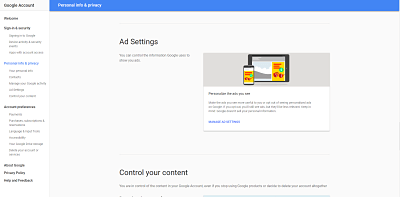 Manage Ad settings on Google.