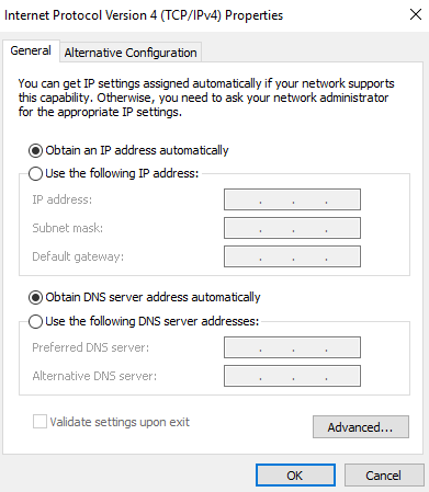 Obtain IP address automatically selected option.