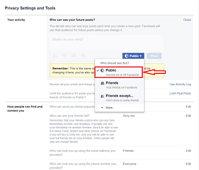 Public facebook option.