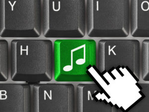 Music icon on keyboard.