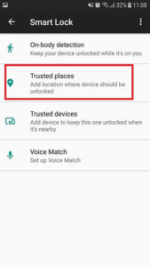Trusted places android app smart lock.