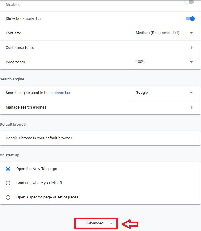 Advanced option in Google Chrome.