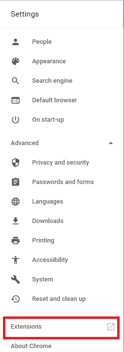 Extensions option on google chrome.