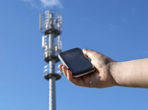 Telecommunication tower radio tower or mobile phone base station.