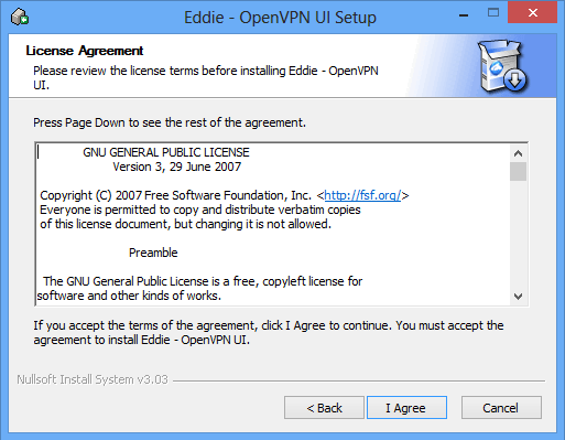 License agreement for air vpn.