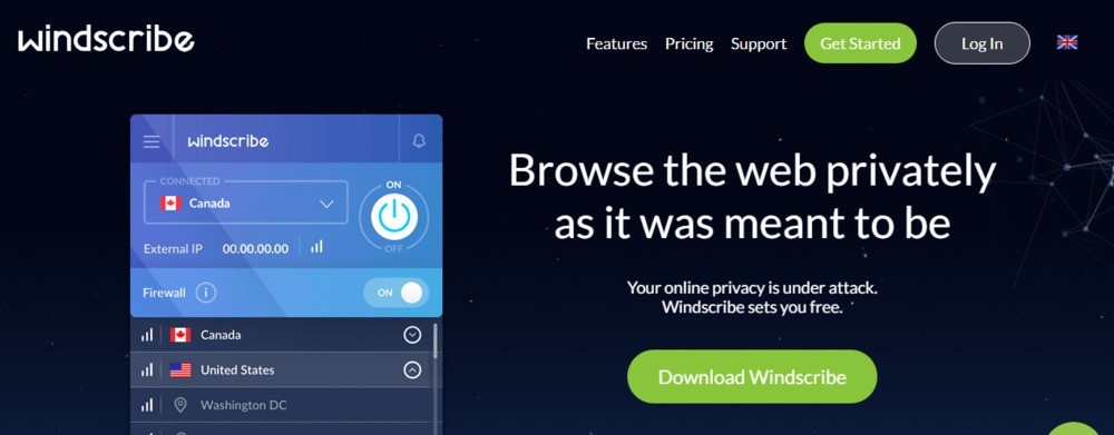Windsribe VPN official website screenshot.
