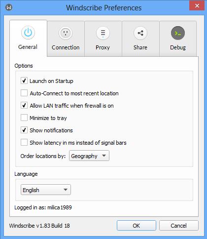 General optioin on Windscribe VPN screenshot.