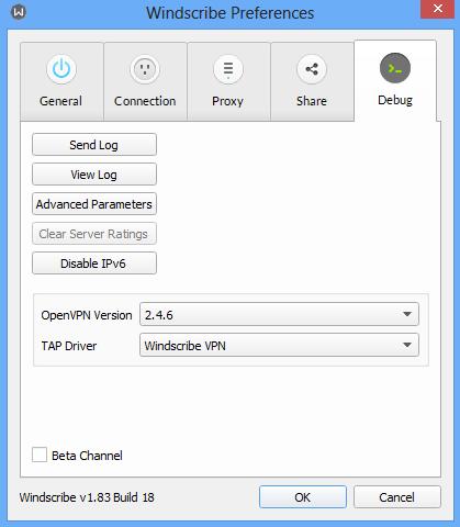 Windscribe preference sreenshot debug button.