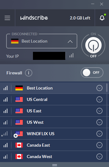 Avaliable states on Windscribe Virtual Private Network.