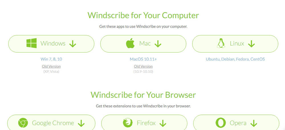 Windscribe VPN download dor Windows,Mac,Lunux, Google Chrome, Firefox, Opera.