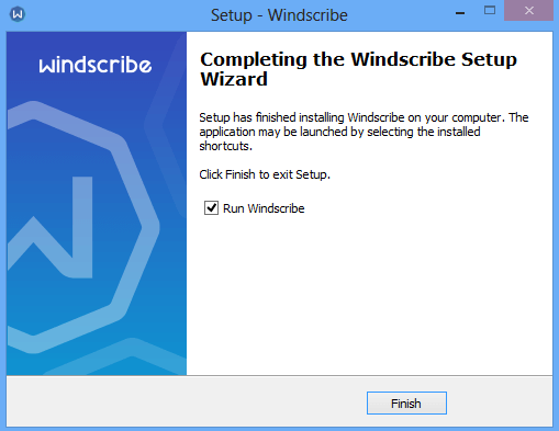 Finish Installing Windscribe VPN.