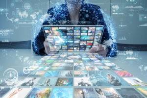 Man streaming movies through Kodi.