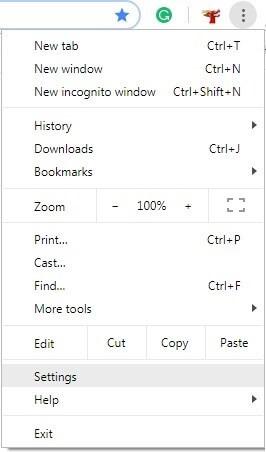 Chrome settings option.