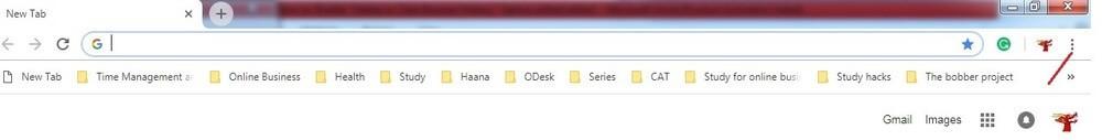 Chrome settings menu.
