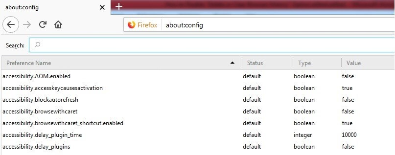 Firefox config.