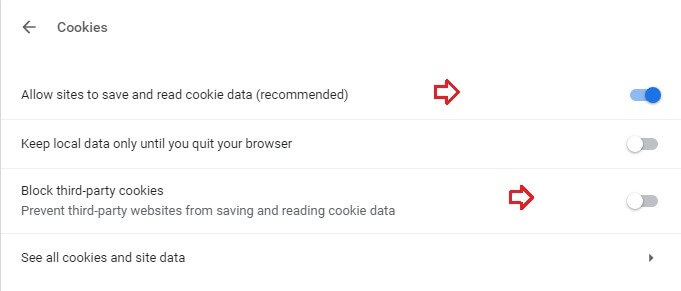 Chrome cookies settings.
