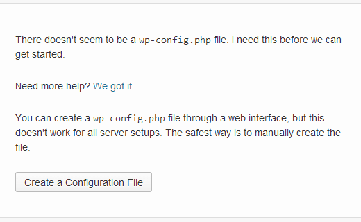 Create config file screenshot.