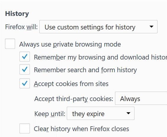 Firefox history option.