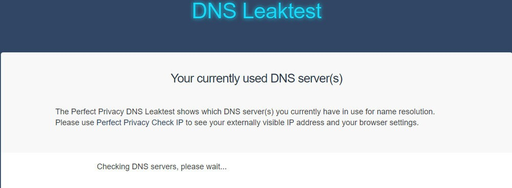Perfec Privacy DNS Leaktest screenshot.