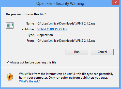 Security warning screenshot.