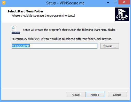 Select start menu folder.