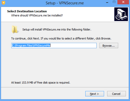 VPN setup screenshot.