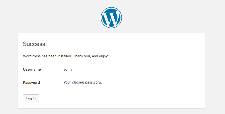 Successful WordPress installation screenshot