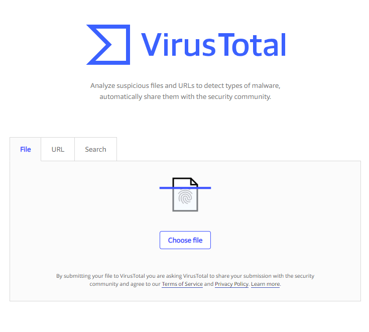 Virus Total Homepage screenshot.